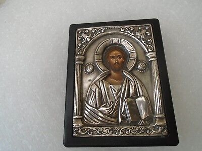 stunning greek 950 silver religious icon plaque   unusual silver icon  WOW LOOK