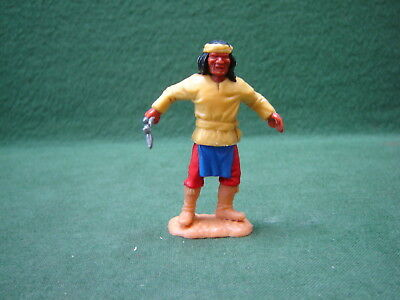 Vintage 1970s Timpo Apache Holding Axe with Yellow Shirt, Red Pants & Blue Apron