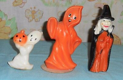 vintage Halloween GURLEY CANDLE 5-inch orange ghost & witch + smaller ghost lot