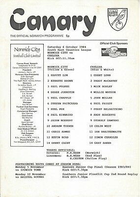 NORWICH CITY YOUTH v CHELSEA 84-5 South East Counties League Programme