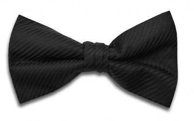 Plain Black Polyester Bow Tie Ready Tied With Stripe Design by St George