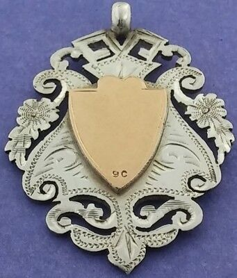 Antique Hallmarked Solid Silver & 9ct Gold Albert Watch Chain Fob Medal c1906