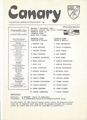 NORWICH CITY YOUTH v IPSWICH TOWN 84-5 Eastern Junior Cup Final 83-4