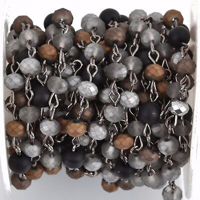 3ft Matte SILVER BLACK Crystal Rondelle Rosary Chain gunmetal 6mm beads fch0774a