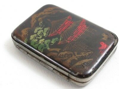 Antique Chinese Painted? Design Match Book Holder Hinged