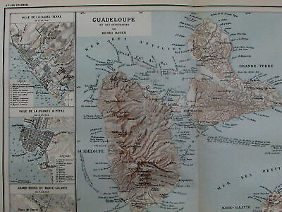 Guadeloupe French Caribbean colonies St. Martin Lesser Antilles c.1890 old map