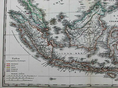 East Indies Dutch English French colonial possessions 1878 Stulpnagel old map