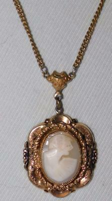 Antique Victorian Carved Shell Cameo Lavalier Necklace Pendant VTG