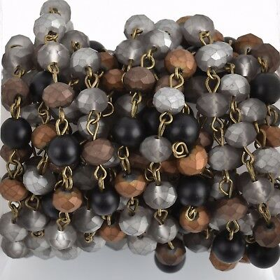 3ft Matte SILVER BLACK Crystal Rondelle Rosary Chain bronze 6mm beads fch0778a