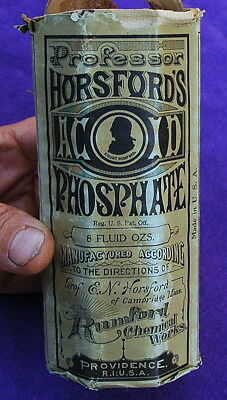 Professor Horsford's Acid Phosphate, Green Rumford Bottle, Label, Box c.1900