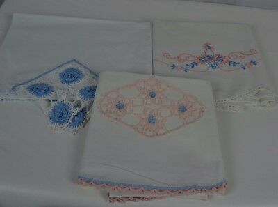 Vintage Embroidered Crochet Edge Pillowcase Pink Blue Set of 3 Non Matching