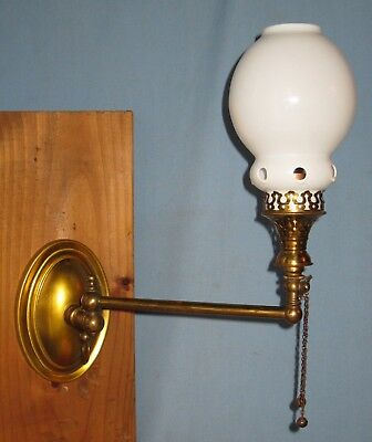 ANTIQUE BRASS WALL LAMP SCONCE ELECTRIFIED w/180 DEGREE SWIVEL ARM FITTER SHADE