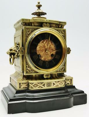Fine Antique Ormolu & Slate Mantel Clock French 8 Day Carved Case 2 Tone Clock