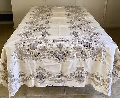 Elaborate Antique Madeira Heavy Hand Embroidered Tablecloth 114 x 64 12 Napkins