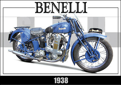 Benelli 1938 Laminated Classic Motorcycle Print /  Poster