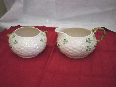 Belleek Basketweave Shamrock Sugar & Creamer  Green Mark