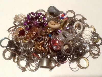 Huge Lot 125 Junk Rings - Large Variety