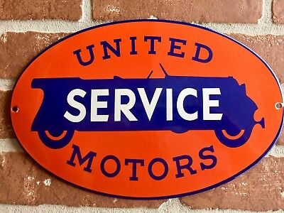 "UNITED MOTORS SERVICE PORCELAIN DEALERSHIP CHEVROLET SIGN. BUY IT NOW 12""x8""size"