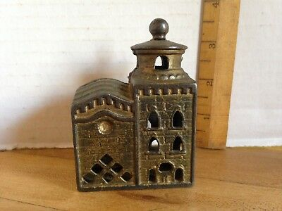 Antique A.C.William Cast Iron Mosque Still Bank~Coin Penny Bank~Gold Finish