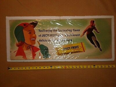 Vintage Wrigley's Juicy Fruit Chewing Gum Display Advertising poster very rare