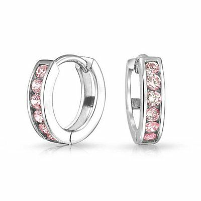 Bling Jewelry Simulated Pink Topaz CZ Huggie Hoops 925 Silver Earrings Watches