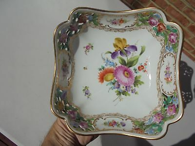 Carl Thieme Dresden Hand Painted Porcelain Pierced Reticulated Square Bowl 7 5/8