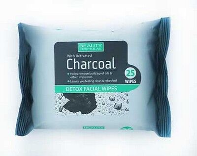 Beauty Formulas With Activated Charcoal Facial Wipes Detox 25 Wipes