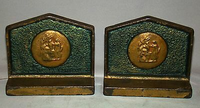 Pair of Cast Iron Hand Painted Neo Classical Medallion Bookends