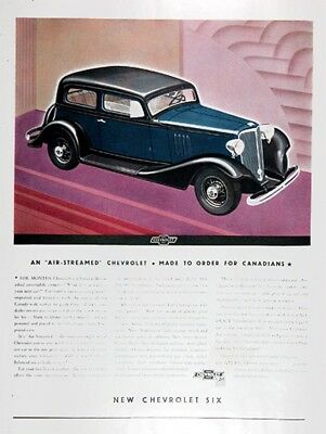 1933 CHEVROLET STREAM LINED 6 Genuine Advertisement ~ RARE CDN AD
