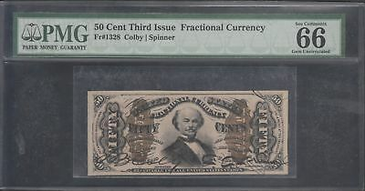 Fr1328 50¢ 3Rd Issue Fractional Colby / Spinner Pmg 66 Gem Unc Wl5454 Key