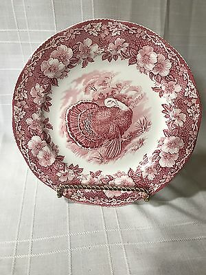 Wedgwood WW34 Dinner Plate Turkey Pink Red Floral