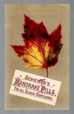 Schenck's Mandrake Pills late 1800's medicine trade card #A