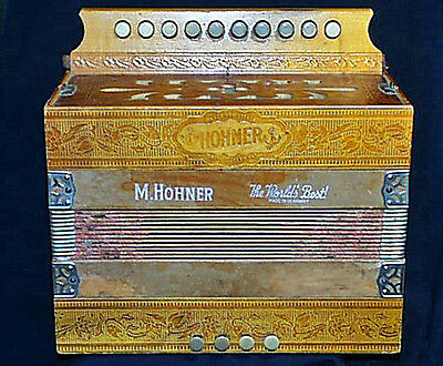 Incredibly Fine Antique Hohner DIATONIC MELODEON #1040 Accordion Great Sound!