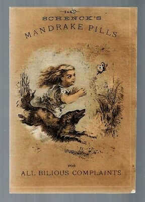 Schenck's Mandrake Pills late 1800's medicine trade card #D
