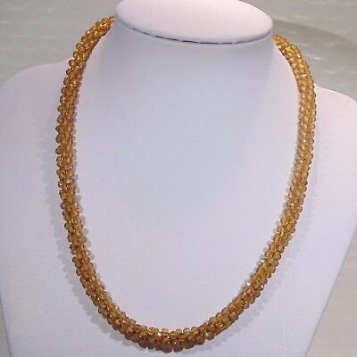 """Antique Czech Art Deco amber glass beaded rope necklace, fancy clasp, 17"""" long"""