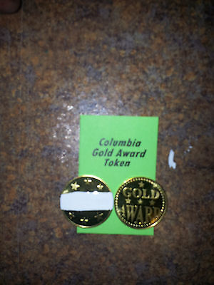 "Lot of (4) COLUMBIA Gold Award Tokens  ""WHITE"" for  Antique Slot Machine"
