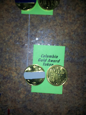 "Lot of (4) COLUMBIA Gold Award Tokens  ""GRAY"" for  Antique Slot Machine"