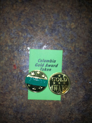 "Lot of (4) COLUMBIA Gold Award Tokens  ""MINT GREEN"" for  Antique Slot Machine"
