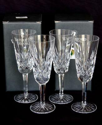 """Set Of Four Waterford Crystal Lismore Fluted Champagne Glasses 7.25"""""""