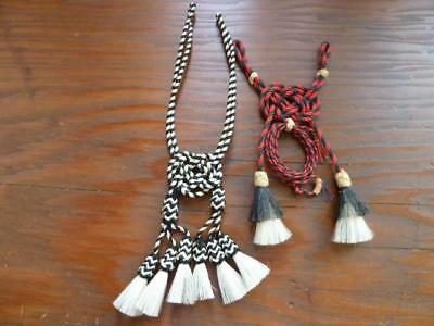2 VINTAGE WESTERN BRAIDED ROPE BUTTON BOLO TIES with HORSE HAIR TASSELS