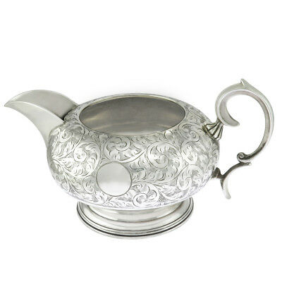 3 3/8 in wide - Sterling Silver Antique Floral Design Creamer