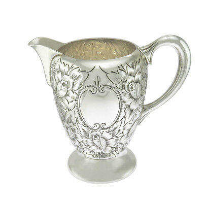 4 in - Sterling Silver Antique Repousse Rose Design Creamer