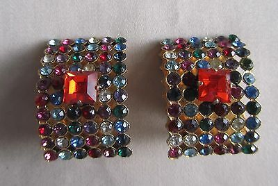 Vintage gold tone clip on oversized earrings with coloured rhinestones