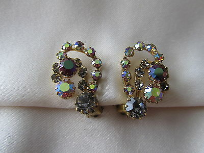 Vintage gold tone Austria clip on earrings with brown and yellow rhinestones