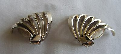 Vintage gold tone clip on Bergere earrings