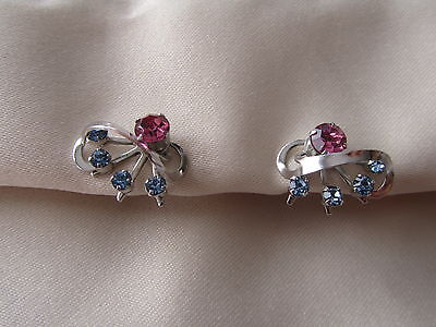 Vintage silver tone screw back earrings with blue and pink rhinestones