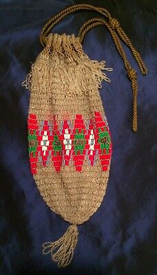 Antique Seed Beaded & Crocheted Drawstring Handbag Native American Work