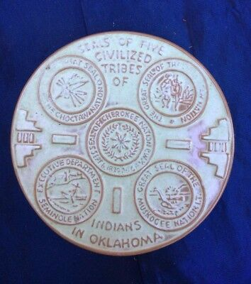 Frankoma Pottery Trivet Featuring Seals Of The Five Civilized Tribes Oklahoma