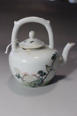 20th C Antique CHINESE PORCELAIN Teapot with bird and words decor