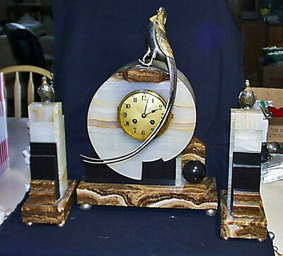 c1925 Art Deco French Clock Bronze Marble Alabaster Onyx Garniture Mantel Suite